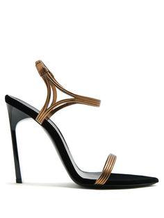 SAINT LAURENT | Ourika & Talitha leather-trim velvet sandals #Shoes #Sandals #SAINT LAURENT
