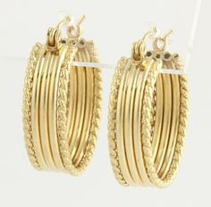 Ribbed Hoop Earrings - 14k Yellow Gold Polished Women's Rope Style Accents Oval #Hoop $199.99