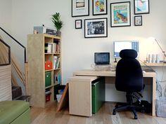 John Ryan's office on Dribbble. I like the framed pictures above the desk. I'm considering something similar in my new office.