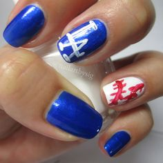 Live and die in LA. Go blue! Dodger Nails, Baseball Nails, Dodgers, Manicure, Nail Art, La Nails, Beauty Ideas, Childhood, Boards