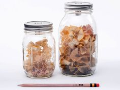 Mason Jar Crafts - DIY Pencil Sharpener - Country Living...so have to make this. One of my pet peeves about pencil sharpeners is they don't have enough catch space!