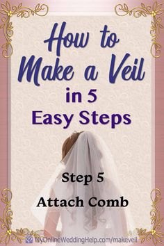 Use this easy, how to make a wedding veil tutorial to create your own bridal veil. Shows how to attach the comb, too. Simple Wedding Veil, Simple Weddings, Wedding Day Checklist, Wedding Planning Tips, Diy Wedding Projects, Wedding Crafts, Different Wedding Ideas, Diy Wedding Inspiration, Simple Diy