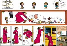 "Calvin and Hobbes, ""BUS STOP"" - Did you know that nobody on our street sets an alarm clock in the morning?"