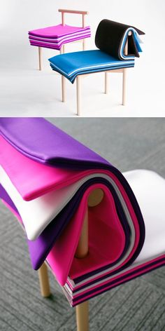 "A chair that consists of ""pages."" Inspired by books, it allows the user to adjust the seat height and backrest cushioning simply by turning its colorful padded ""pages."""