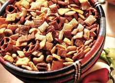 Hot and Spicy Chex® Party Mix...1/4 c butter or margarine, 1 tbs Worcestershire sauce, 1 1/4 tsp seasoned salt, 2 to 3 tsp red pepper sauce, 3 c Corn Chex® cereal, 3 c Rice Chex® cereal, 3 c Wheat Chex® cereal, 1 c mixed nuts, 1 c pretzels, 1 c bite-size cheese crackers...
