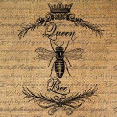 Queen bee burlap for pillow top or framed Motifs Animal, Bee Art, Framed Fabric, Bee Happy, Bees Knees, Queen Bees, Bee Keeping, Illustrations, Collage Sheet