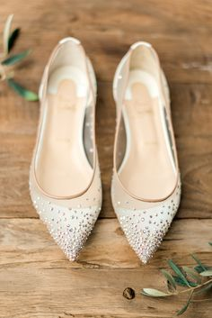 Christian Louboutin White Crystal Wedding Shoes | Houston Garden Wedding