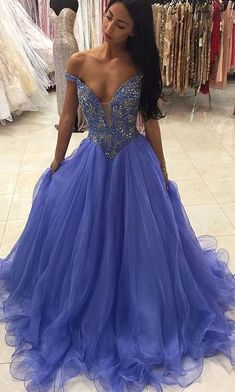 Beaded Prom Dress,Off The Shoulder Prom Dress,Fashion Prom
