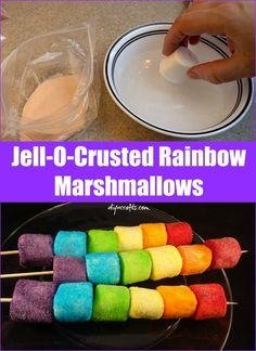 Try this Quick and Easy Sweet Treat: Jell-O-Crusted Rainbow Marshmallows - Brilliant recipe