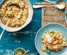 Linsen-Risotto mit Bockwurst Risotto, Couscous, Pancakes, Cheesecake, Ethnic Recipes, Food, Lentils, Thermomix, Koken