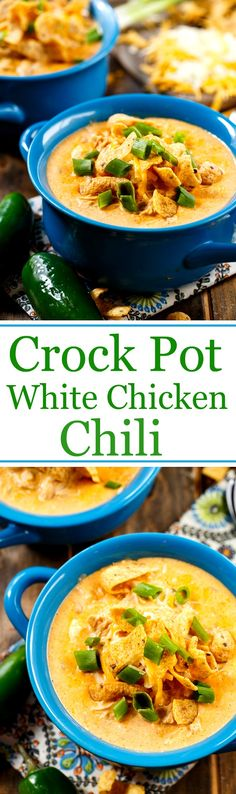 White Chicken Chili made in a slow cooker- so creamy and cheesy. I love the crunch of Fritos on top!