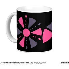 Geometric flowers in purple and grey classic white coffee mug ($17) ❤ liked on Polyvore featuring home, kitchen & dining, drinkware, gray coffee mugs, purple coffee mugs and white coffee mugs
