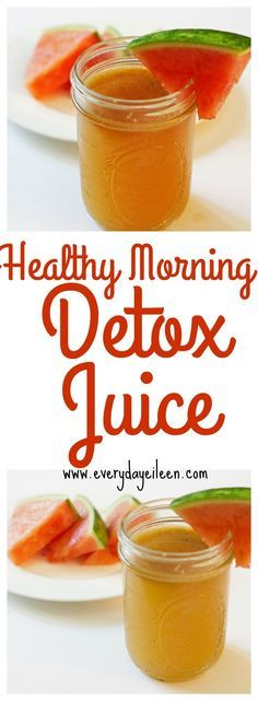 healthy-morning-detox-juice is a blend of kale, watermelon, apples, orange, and lemon. A perfect way to detox your body and start the day off! No more spending extra money at the juice shop! Make your own, save money, and stay healthy!