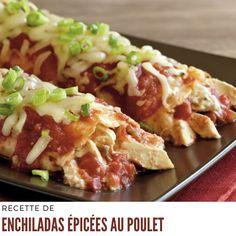 Préchauffer le four à 350 ºF (180 ºC). Vaporiser d'enduit culinaire un plat de cuisson en verre de 13 x 9 po (33 x 23 cm) (3 pintes/3 L). #recetteeconomique #enchiladasepicees Enchiladas, Four, Baked Potato, Tacos, Potatoes, Chicken, Baking, Ethnic Recipes, Grilled Tomatoes