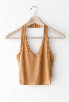 NYCT Clothing Halter Crop Top - Honey Mustard