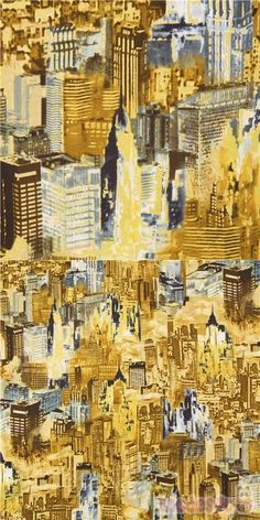 cotton fabric packed with skyscrapers and city buildings in beige and grey with metallic gold embellishments, very high quality fabric, typical Timeless Treasures great quality #Cotton #Buildings #Houses #Metallic #USAFabrics