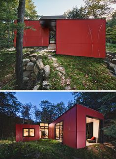 11 Red Houses And Buildings That Aren't Afraid To Make A Statement // This red clad lake-side home serves as a retreat from busy everyday life. Metal Buildings For Sale, Shop Buildings, Steel Buildings, Modern Buildings, Metal Shop Building, Building Costs, Building A House, Parametric Architecture, Modern Architecture Design