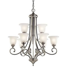 Kichler Monroe Brushed Nickel Traditional Etched Glass Chandelier at Lowe's. This 9 light LED chandelier from the Monroe(TM) lighting collection is a unique twist on traditional Americana. The distinctive metal base is touched with Brushed Nickel Chandelier, Chandelier Shades, Chandelier Lighting, Chandeliers, Light In, Light Shades, Satin, Light Bulb Types, Glass Shades