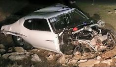 """Street Outlaws' Justin """"Big Chief"""" Shearer was involved in a high-speed, two-car crash overnight that destroyed his familiar 1972 Pontiac LeMans known as """"Crow""""."""
