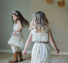 Ivory Ruffle Flower Girl Dress with Toffee Sash by Everything Ruffles - Wide Straps/Cap Sleeves, 1 Inch Ruffles on Etsy, $60.00