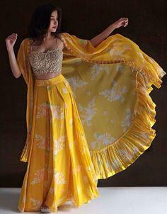 Lemon Yellow Color Georgette Base Party Wear Jacket Style Lehenga Choli presenting this fabulous lemon yellow color georgette base designer. Party Wear Indian Dresses, Indian Fashion Dresses, Indian Gowns Dresses, Dress Indian Style, Indian Designer Outfits, Indian Wedding Outfits, Indian Outfits, Designer Dresses, Wedding Dresses