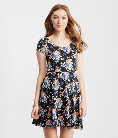 Floral Strappy-Back Skater Dress - Aeropostale