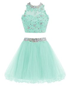 Enjoy exclusive for TANGFUTI Two Pieces Beaded Short Prom Homecoming Dress Cocktail Party Gown Dress 106 online - Featuredtopbuy Pretty Quinceanera Dresses, Beautiful Prom Dresses, Pretty Dresses, Party Gown Dress, Tulle Prom Dress, Prom Gowns, Teal Homecoming Dresses, Cute Formal Dresses, Short Dresses
