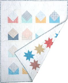 An envelope quilt done with a white background... nothing wrong with white!
