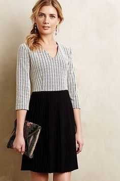ANTHROPOLOGIE Size Large L NEW $158 Ganni Pleated Crossknit Dress Black Motif #Anthropologie #Pleated #WeartoWork