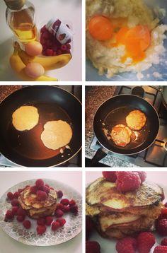 Recept. Bananen pannenkoekjes. Clean Eating. Eiwitten en koolhydraten. After-workout-breakfast.