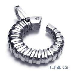 Silver CZ 316L Stainless Steel Men Pendant Necklace - $47nok (free)