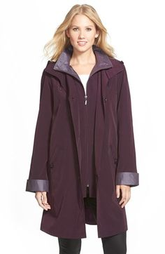 Gallery Two Tone Long Silk Look Raincoat (Regular & Petite) available at #Nordstrom