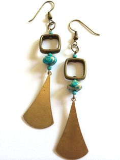 Bronze Square and Turquoise Bead Earrings by OliveTreeHandmade, $19.00