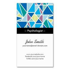 Psychologist - Blue Abstract Geometry Business Card Templates
