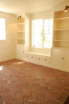 Basement floor- Herringbone brick floor.  This looks amazing!