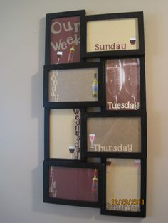 I made the dry erase board with the walmart 10.00 frame. Wine themed for my kitchen.  Great idea!  Love it.