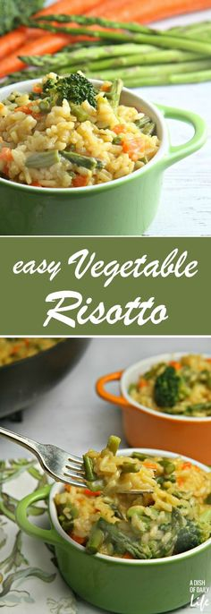 Vegetable Risotto A farmer's market favorite, this fast and easy Vegetable Risotto recipe is an elegant dish, easily made as a weeknight dinner but perfect for special occasions as well! 35 minutes start to finish!A farmer's market favorite, this fast and Healthy Recipes, Vegetarian Recipes, Cooking Recipes, Vegetarian Dinners, Vegetarian Cooking, Vegetarian Rice Dishes, Crockpot Recipes, Cooking Corn, Cheap Recipes