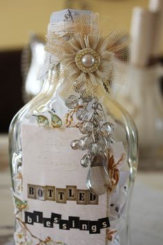 I am a collector/lover of bottles and jars.  While I love to decorate my home  with  them, I like to embellish  a bottle or jar now & then. ...