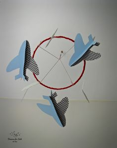 Hand made nursery mobile, clouds and airplane mobile, baby boy mobile, nursery decoration, nursery design, boys room, cot mobile, crib mobile