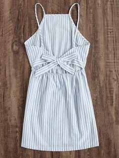 Vestido de rayas con abertura y espalda abierta -Spanish SheIn(Sheinside)