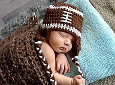 Crochet Football Hat, Newborn Football Hat, Football Hat, Baby Boy Hat, Toddler Hat. $15.00, via Etsy.