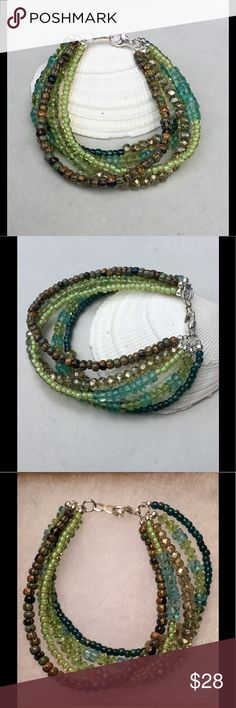 """Peridot, Apatite, Czech Glass and TOHO Bracelet Totally yummy!!! For this five strand, hand strung bracelet I used AAA grade peridots and green apatite along with beautiful forest collection Czech glass beads and Japanese TOHO beads. Lobster clasp is sterling silver. Length is 7.25"""" and comes with my signature, feathered gift box! brindleracerdesigns Jewelry Bracelets"""