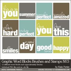 sayings...  Graphic Word Blocks Brushes and Stamps No. 03