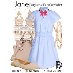 Disney Bound: Jane - Daughter of Fairy Godmother from Disney's Descendants Disney Themed Outfits, Disney Bound Outfits, Disney Style, Cute Disney, Disney Inspired Fashion, Disney Fashion, Disney Decendants, Cosplay Costume, Character Inspired Outfits