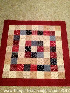 "THE QUILTED PINEAPPLE: Old Glory Itty Bitty Pinwheel Quilt tiny use 2.5"" squares and itty bitty template.  before:"