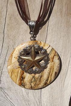 Texas Star Conch Picture Jasper Pendant Necklace by argenesgems