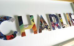 CUSTOM superhero alphabet name  7 letters  framed by spottedflats, $110.00