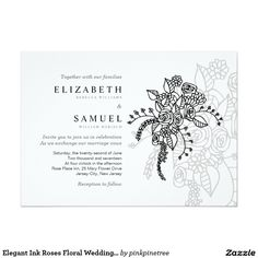 "Elegant Ink Roses Floral Wedding Invitation 5"" X 7"" Invitation Card"