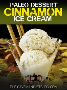 Paleo Dessert Recipes Cinnamon Ice Cream Ingredient (for THM change to on plan sweetener! Paleo Dessert, Delicious Desserts, Dessert Recipes, Paleo Sweets, Keto Desserts, Low Carb Ice Cream, Healthy Ice Cream, Paleo Recipes, Low Carb Recipes