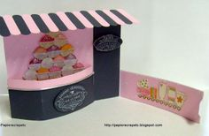 papierscrapetc: A birthday bendi shaped fold card with buffers tearoom Stampin'Up.